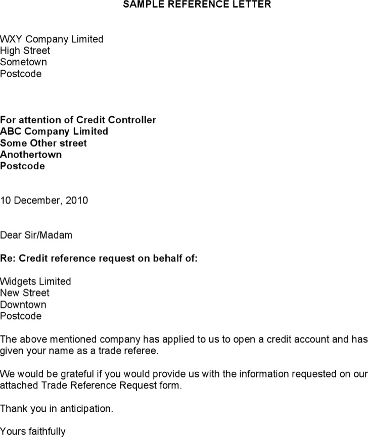 Positive Credit Reference Letter