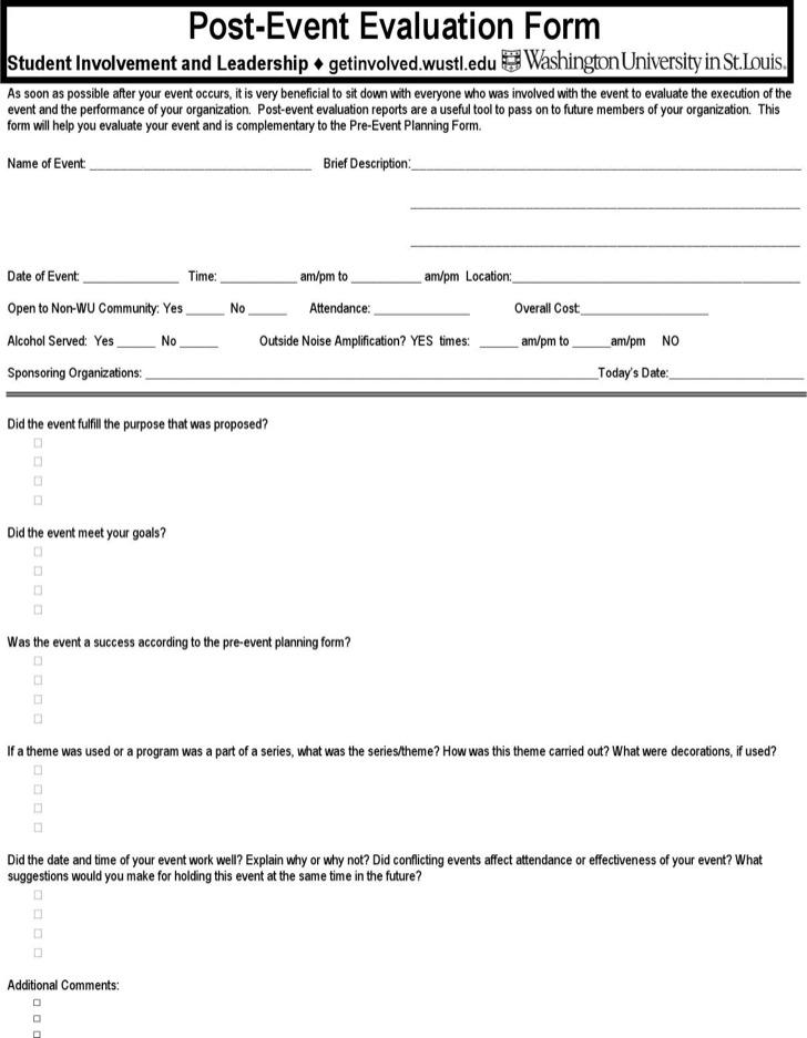 post event evaluation form