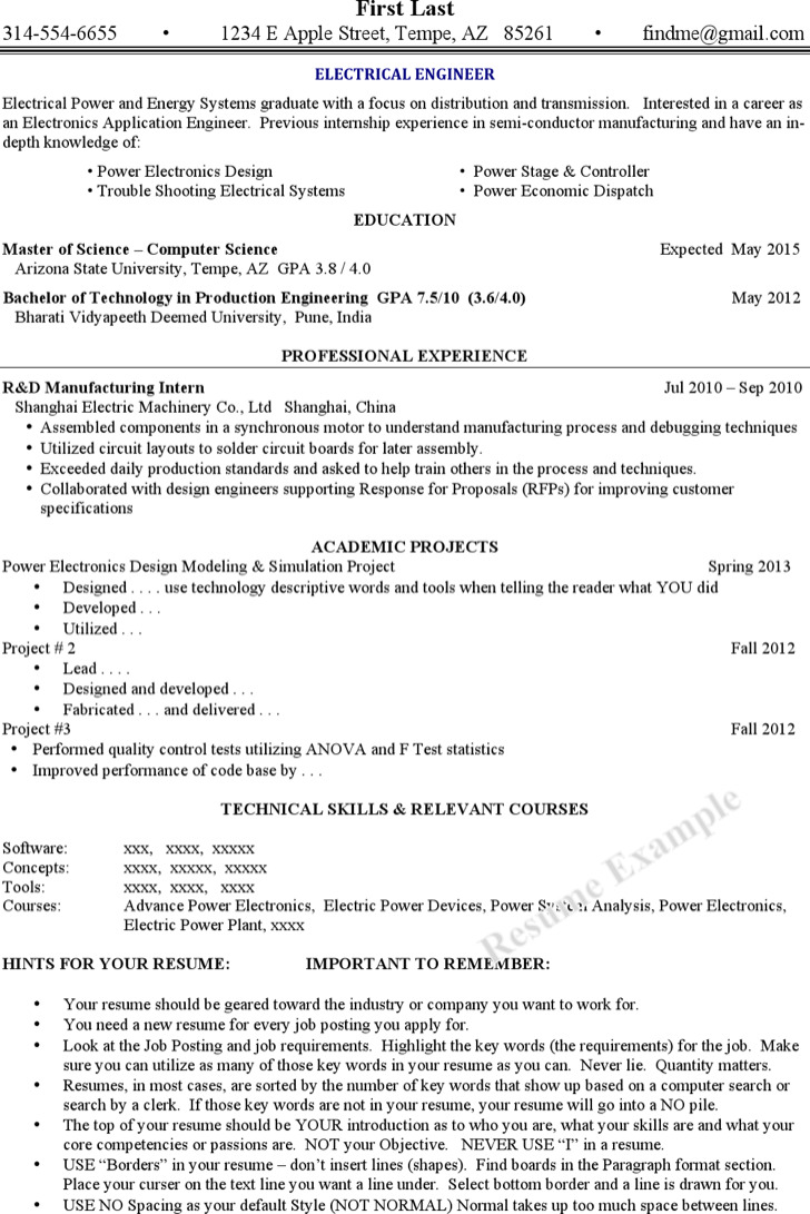 Power Electronics Resume