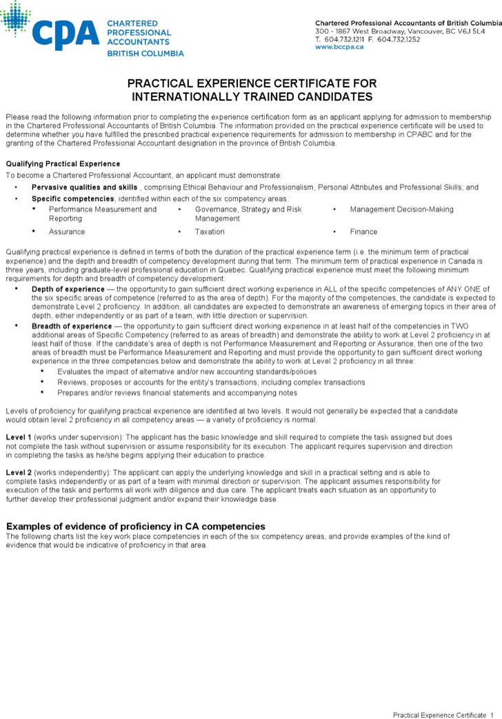 Practical Experience Certificate Template