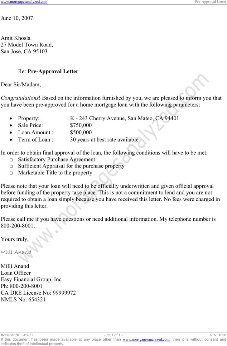 Pre Approval Letter
