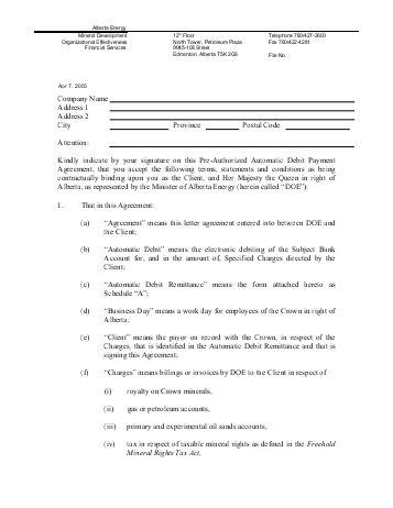 Pre-Authorized Debit Payment Plan Agreement Template Download