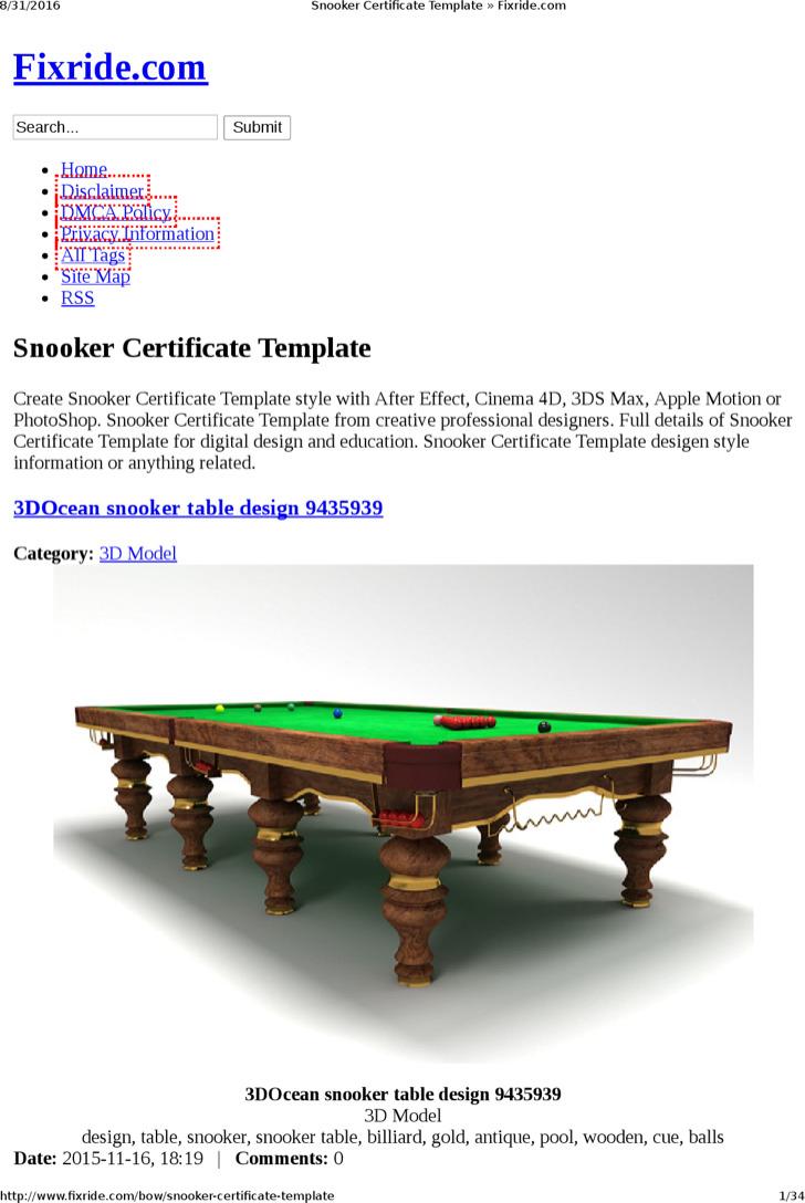 Premium Snooker Certificate Template