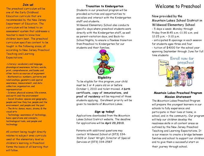Preschool Brochure 2