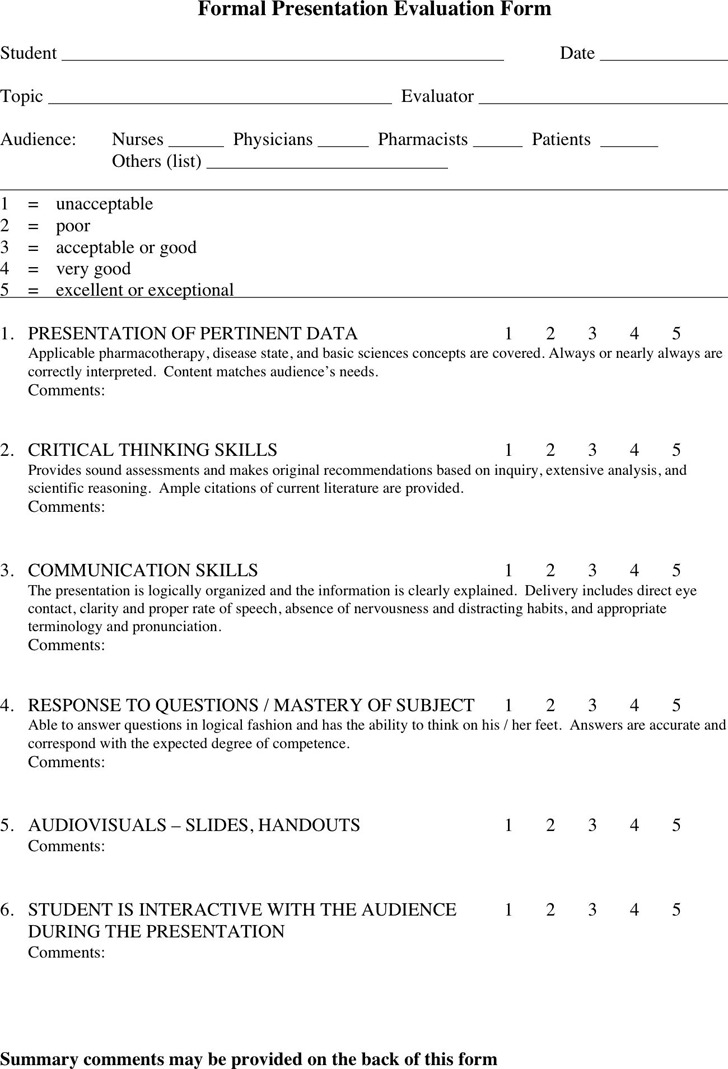 Formal Presentation Evaluation Form