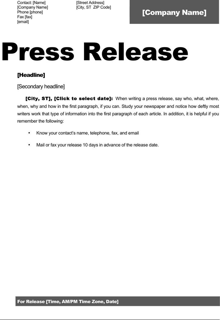 Press Release Template 2