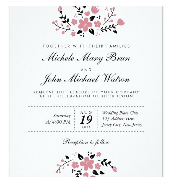 Pretty Floral Modern Stylish Wedding Invitation Template Download