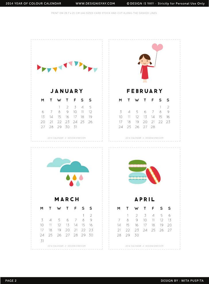 Printable 2014 Calendar Page Two Designisyay