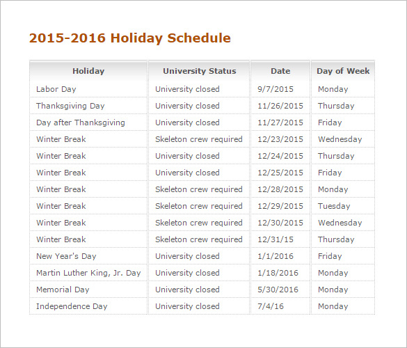 Printable 2015-2016 Holiday Schedule