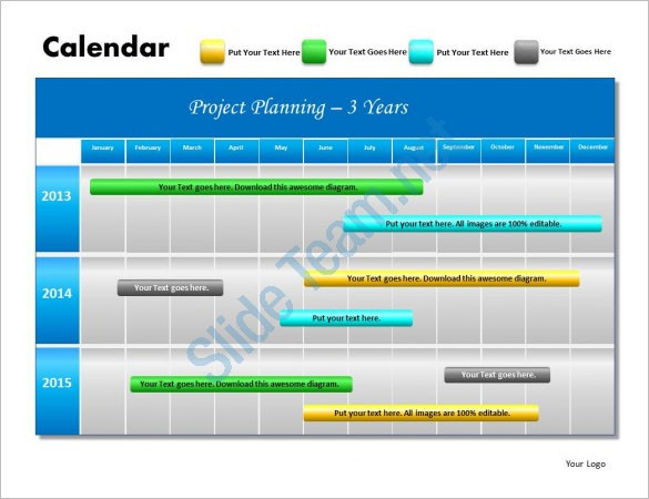 Printable 3 Years Project Planning Schedule Powerpoint Template