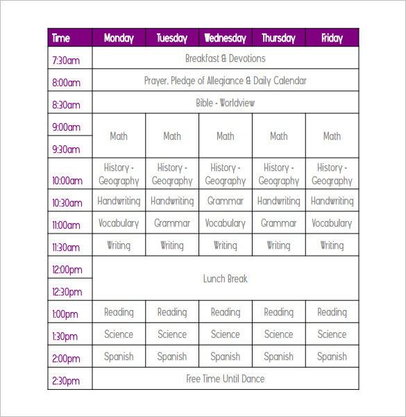 Printable 5th Class Weekly School Schedule Template