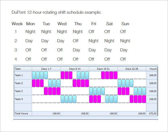 Printable 8 hour DuPont Rotating Shift Schedule Template