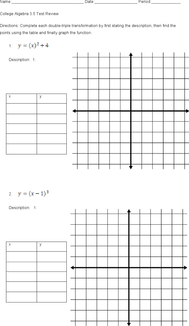 Printable Algebra Worksheets