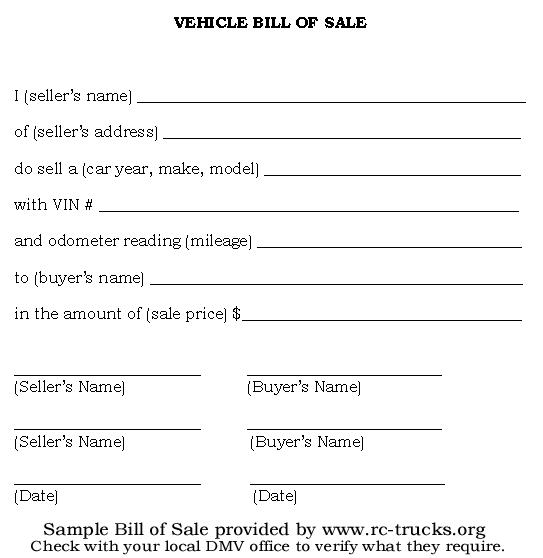 Printable Bill of Sale