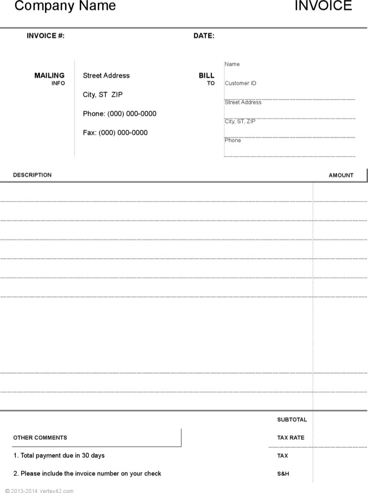 Printable Blank Invoice Template Example