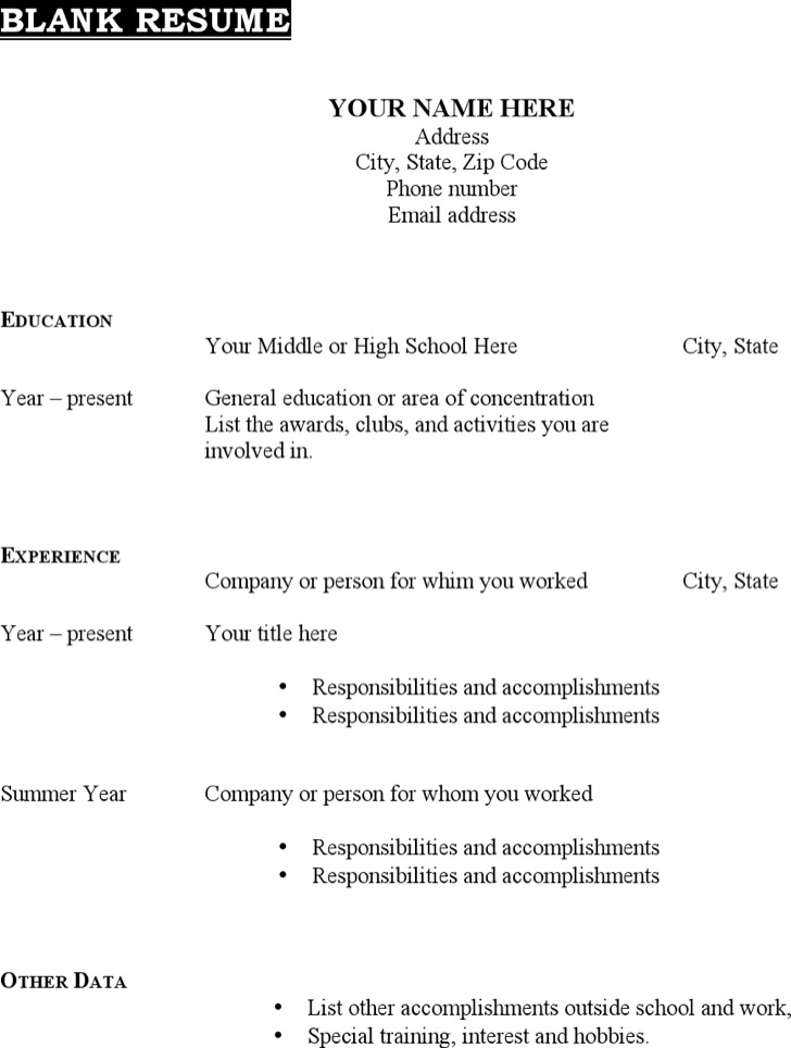 download blank resume templates for free