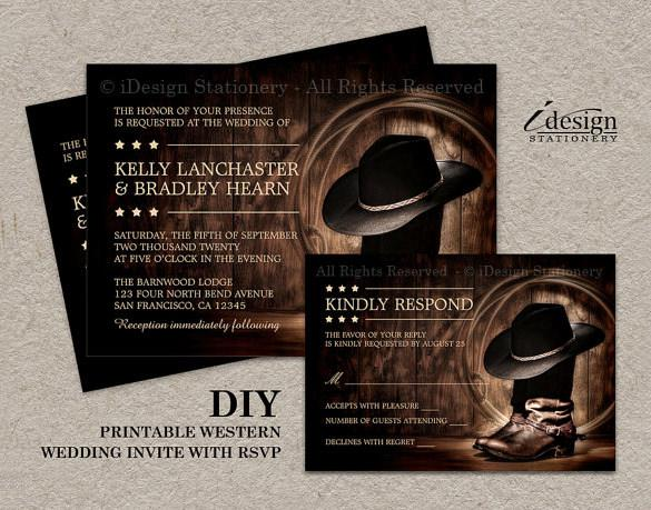 Printable Country Western Wedding Invitation Template