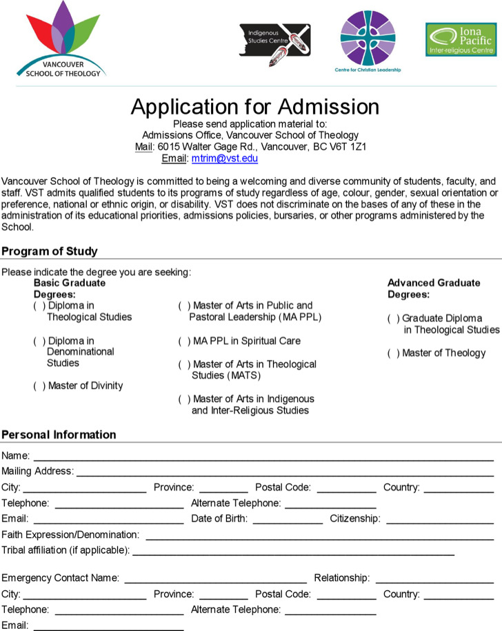 Printable Diploma School Application For Admission Free Download