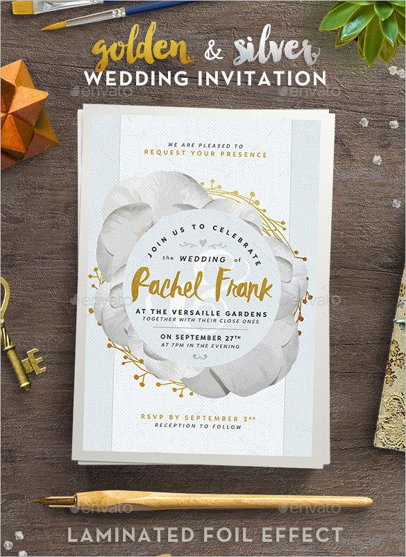 Printable Golden and Silver Wedding Invitation to Print