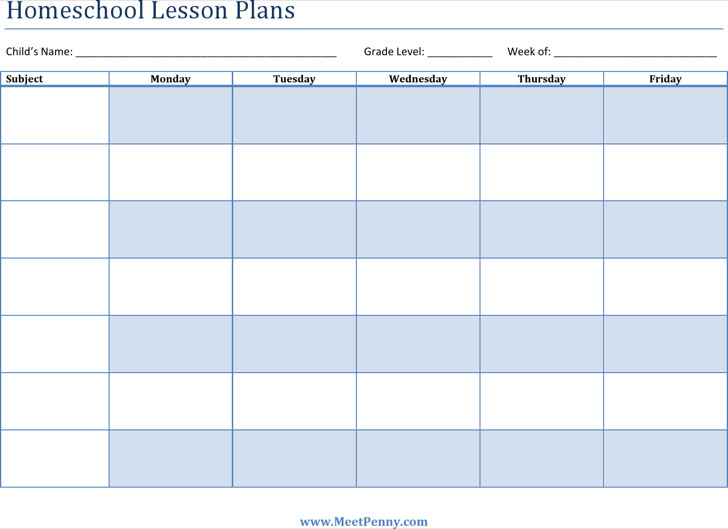 Printable Homeschool Lesson Plan Template