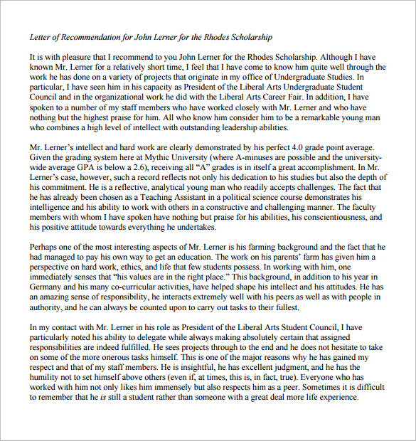 Printable Letter of Recommendation for Scholarship from Boss