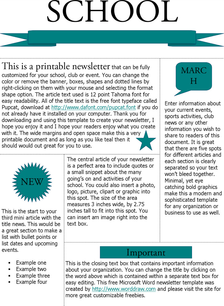 Printable Newsletter Templates Teal