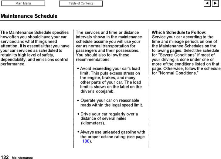Printable Normal Conditions Vehicle Maintenance Schedule Template