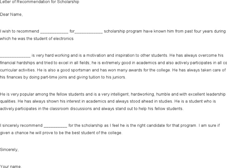 Printable Recommendation Letter for a Friend for Scholarship Sample
