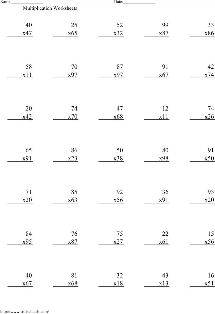 Printable Times Table Worksheets