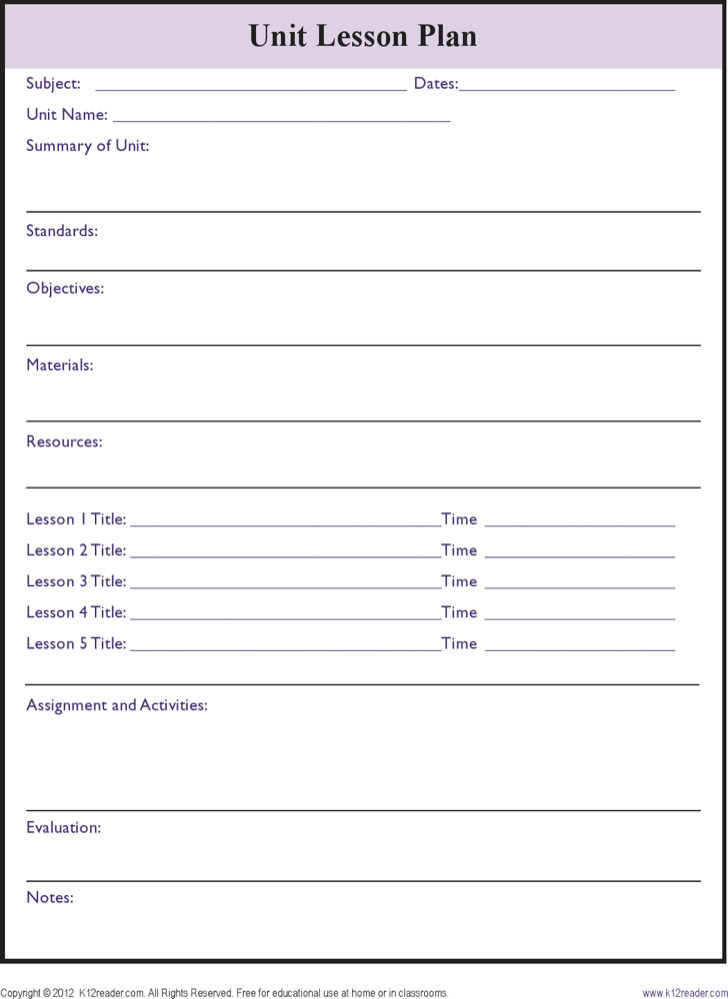 Printable Unit Lesson Plan Template Blank