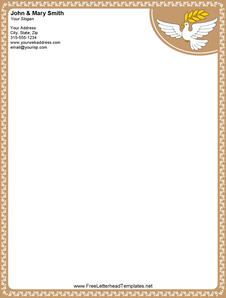 Printable Word Dove Letterhead Template For Free