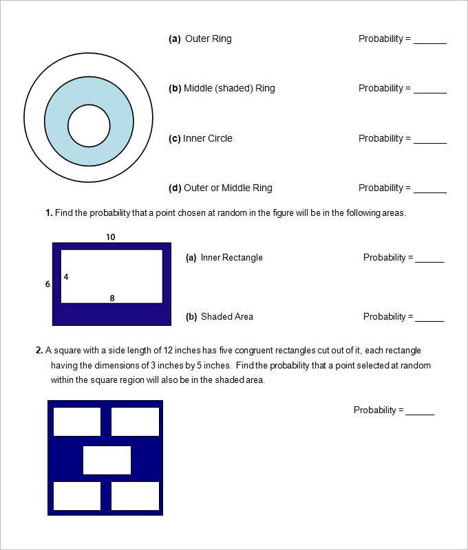 Probability High School Geometry Worksheet Template