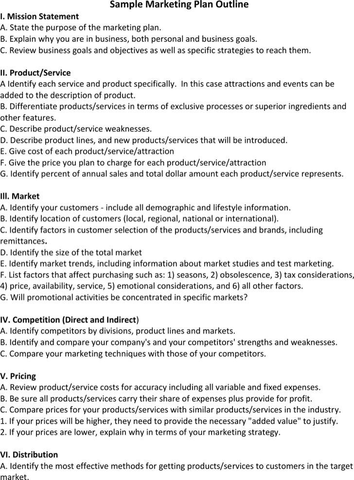 Product Marketing Plan Outline