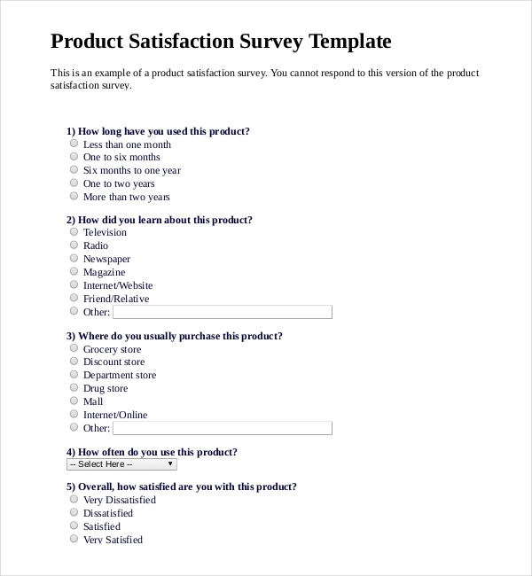 brand awareness survey template - 8 product survey template free download