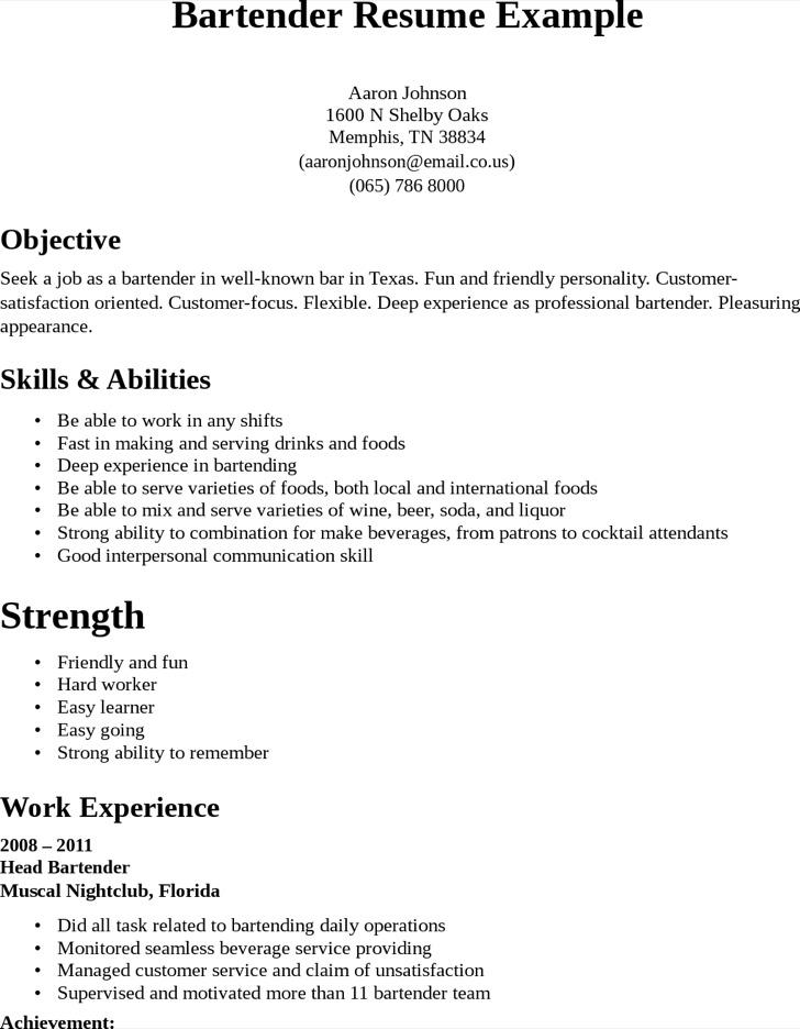 Professional Bartender Resume1