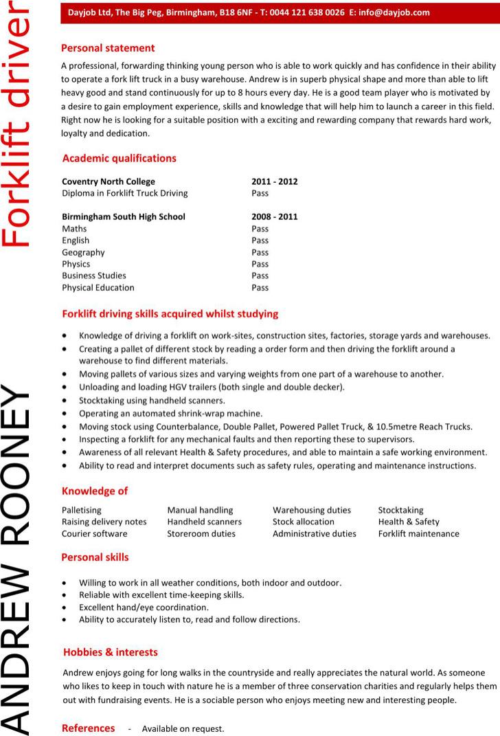 Professional Forklift Driver Resume