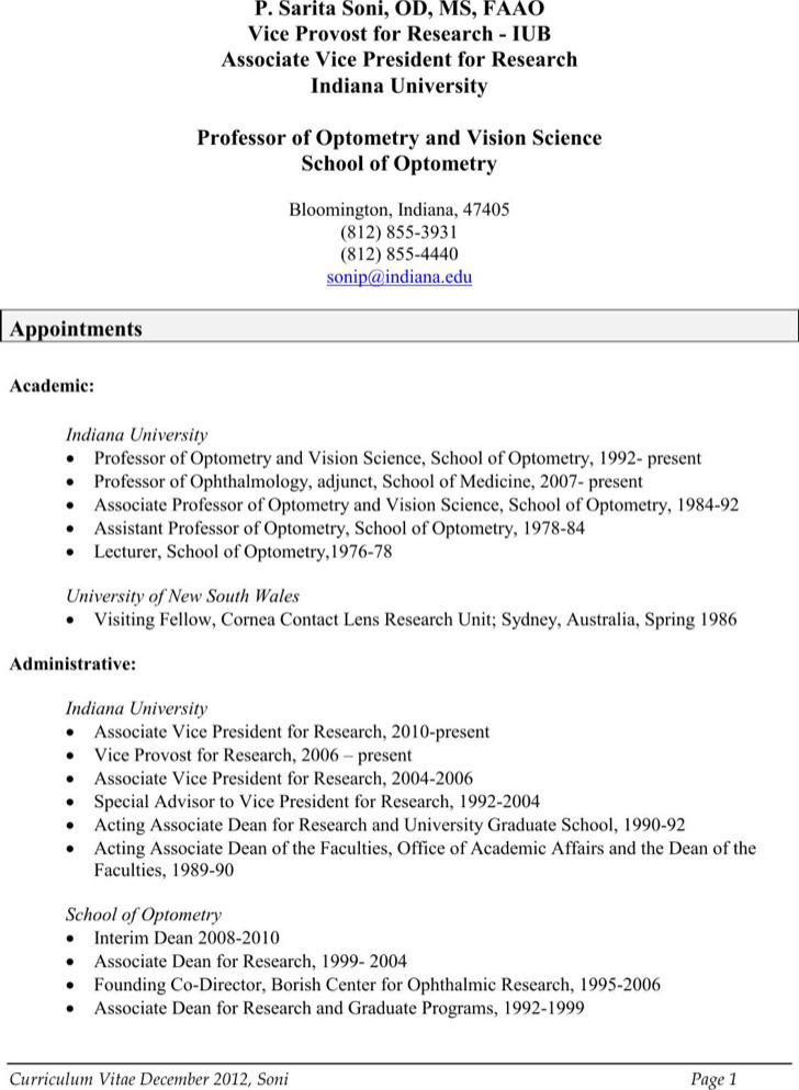 Professional Optometrist Resume