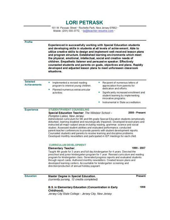 Professional Teacher Resume Template PDF Printable Download