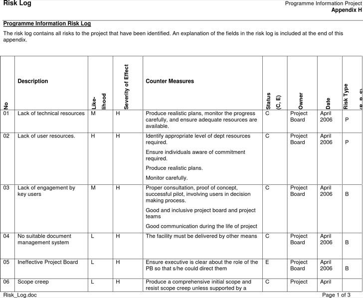 Programme Information Risk Log