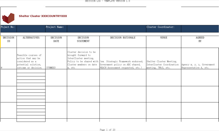 Project Decision Log Template