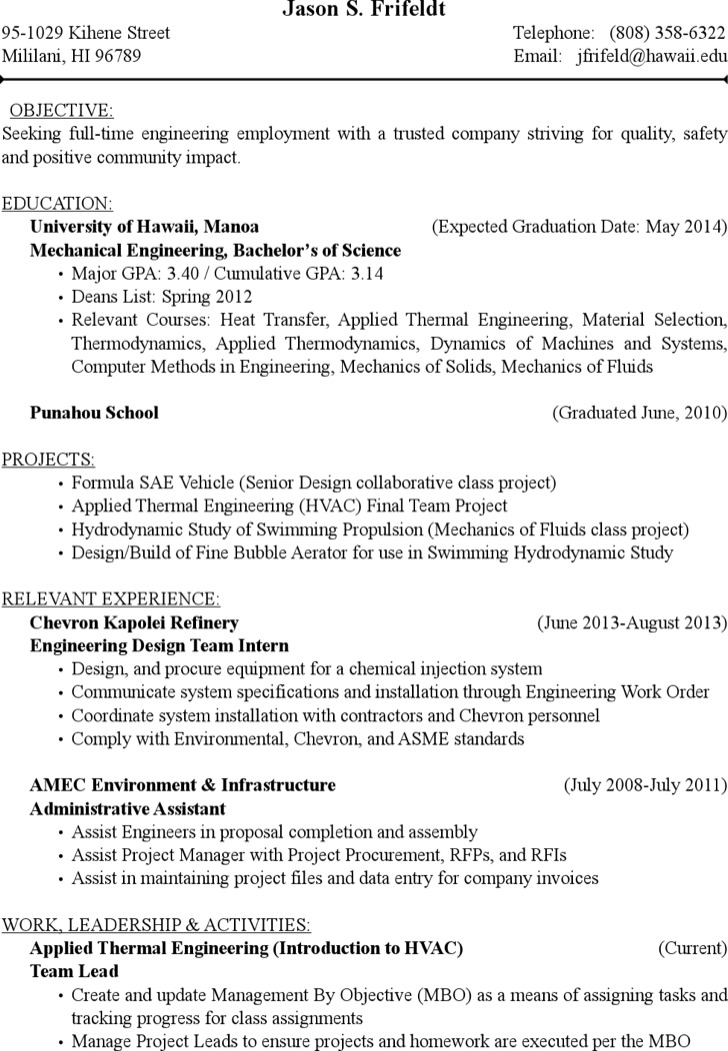 Project Engineer Hvac Resume Free Pdf Template