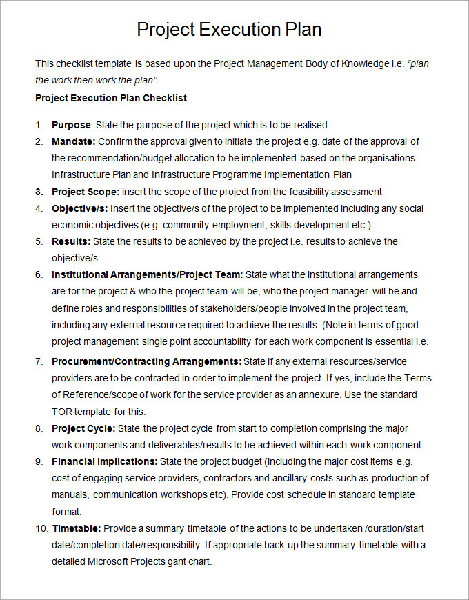 Project Execution Plan Sample