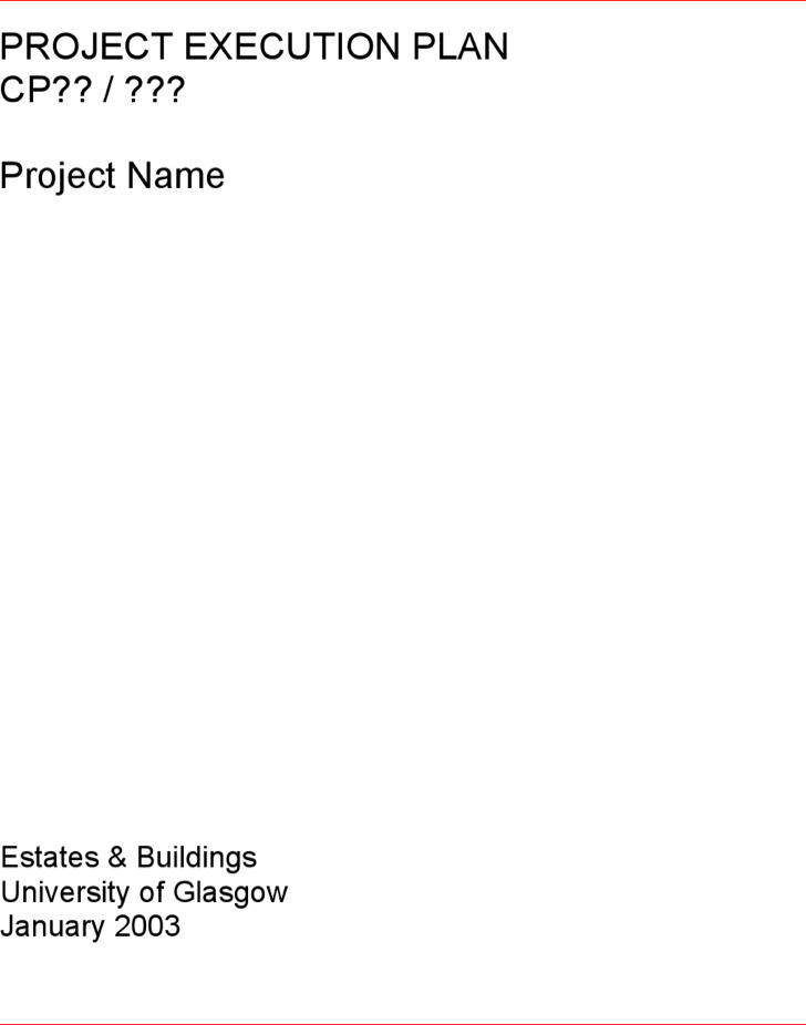 Project Execution Plan Template