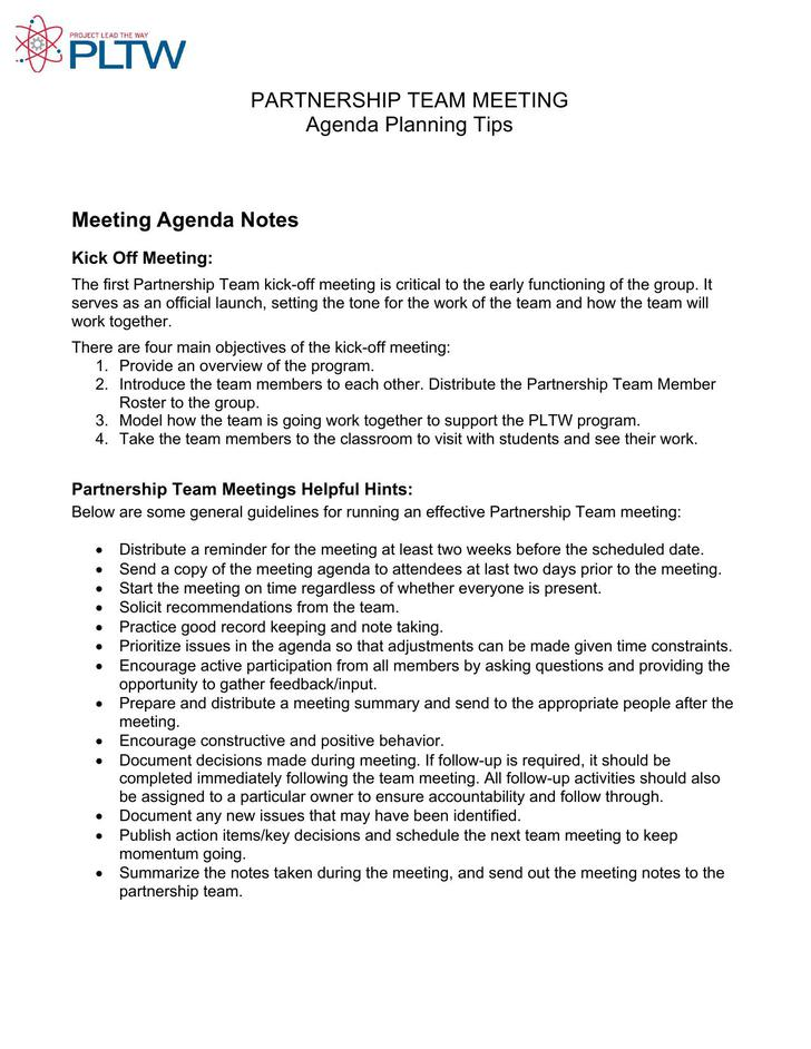 Project Kick Off Meeting Agenda Template Free Editable