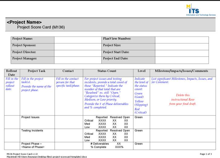 Project Scorecard Template2