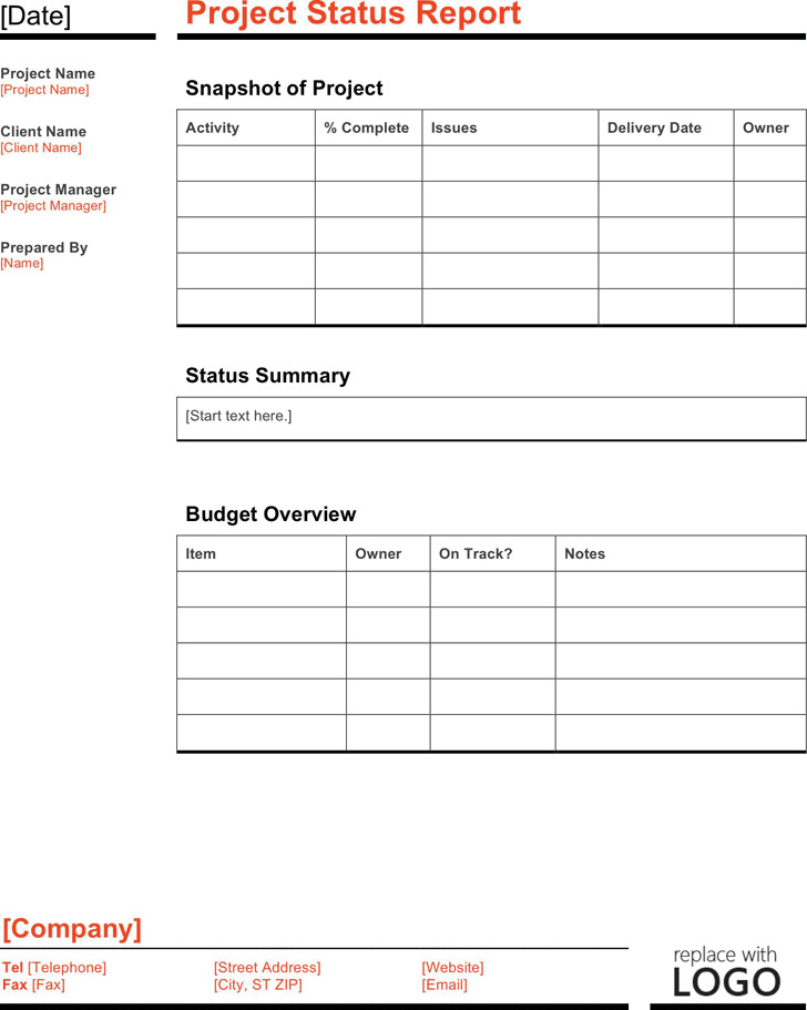 Project Status Report Template 4
