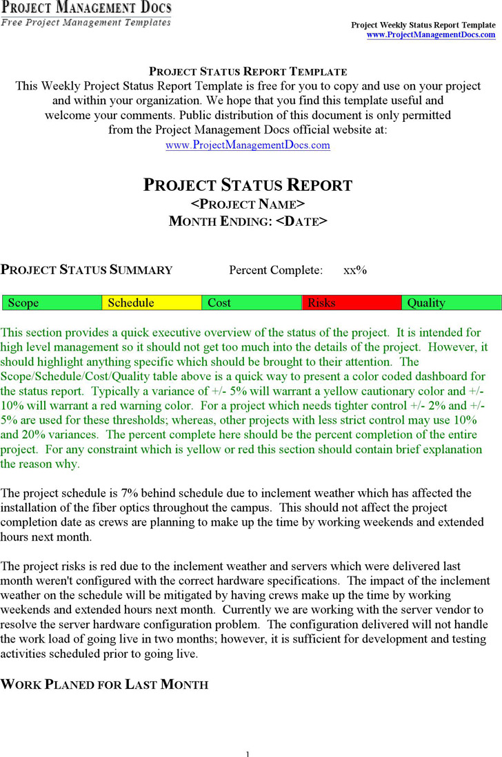 Project Status Report Template 6