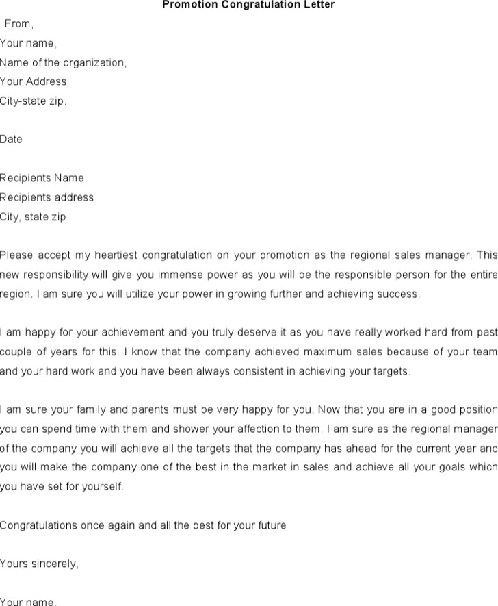 Promotion Congratulations Letter Template Free Download