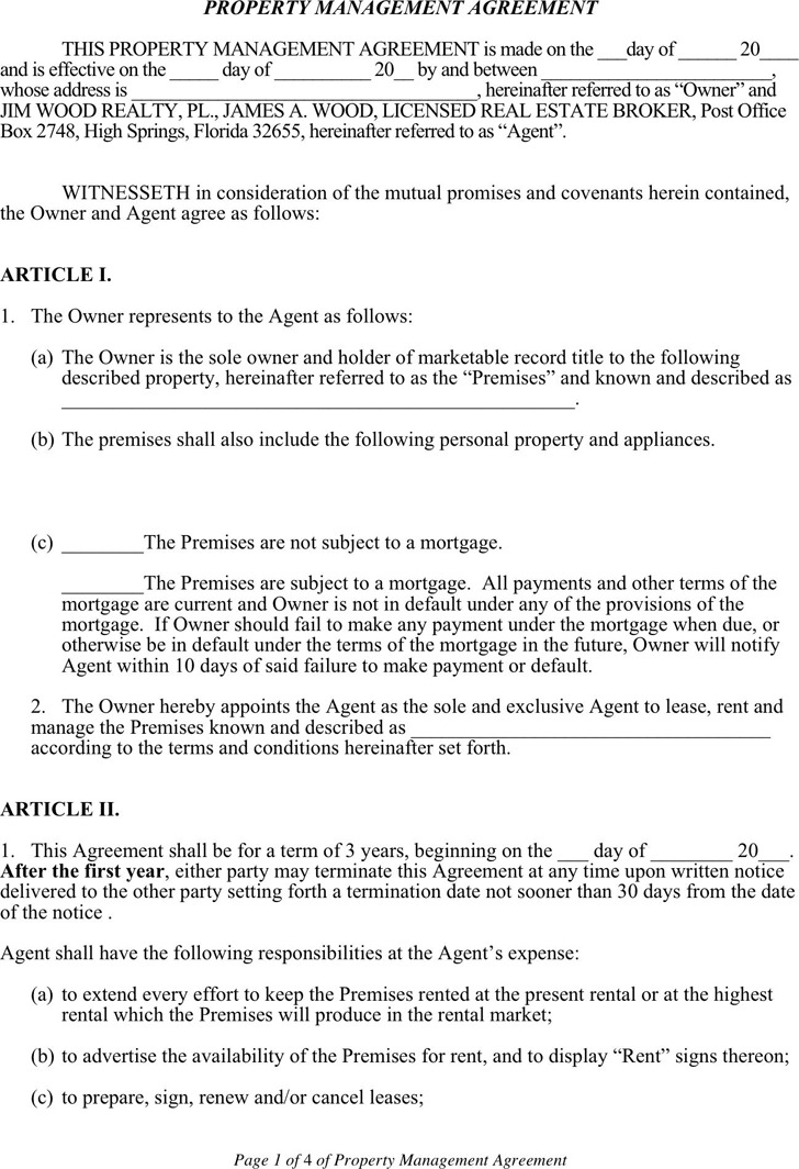 Property Management Agreement 1