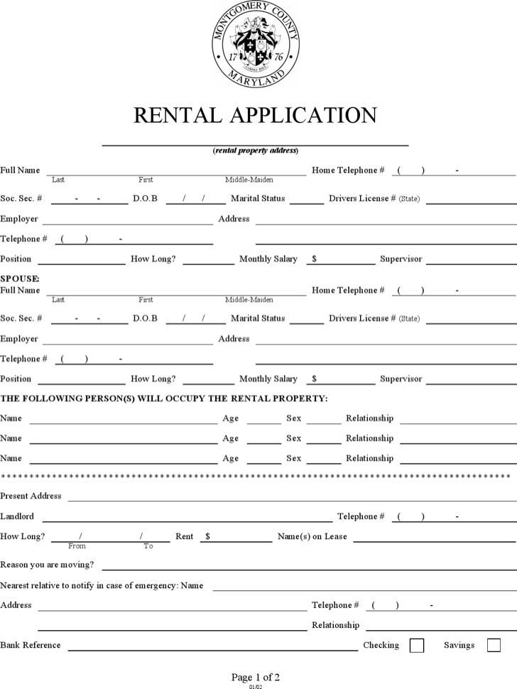 Property Rental Application Form Template
